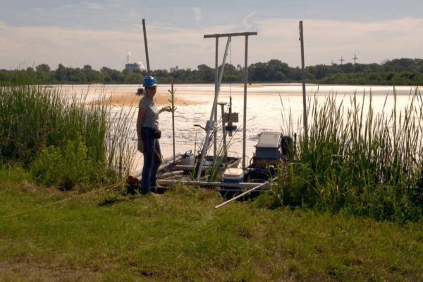 Bathymetric and Sediment Survey of A Settling Basin